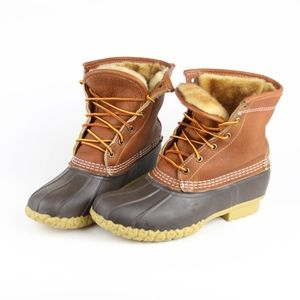 LL Bean Womens Boots Shearling Lined Duck Boots